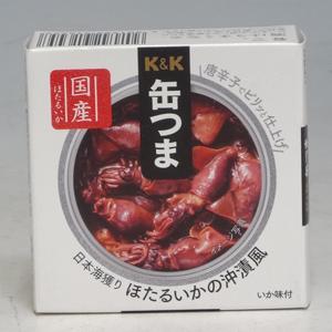 K&K 缶つま 日本海獲りほたるいかの沖漬風 70g  [7385]